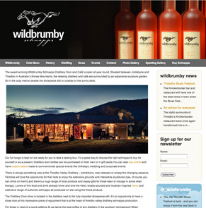 Web stite design for wild brumby scnapps distillery